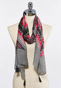 Houndstooth Print Oblong Scarf