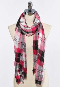 Pink Plaid Oblong Scarf