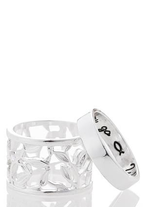 Wide Filigree Love Ring Set