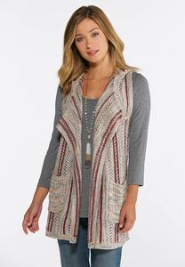 Plus Size Pointelle Hooded Vest