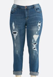 Plus Size Distressed Cuffed Jeans
