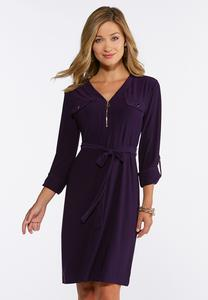 Solid Tie Waist Knit Shirt Dress