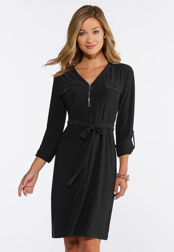 Plus Size Solid Tie Waist Shirt Dress Plus Sizes Cato Fashions