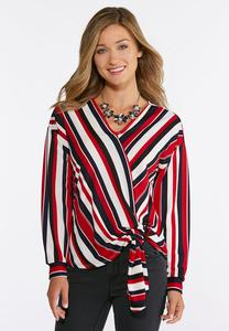 Stripe Knotted Front Top