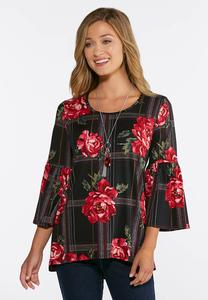 Plus Size In Bloom Plaid Top