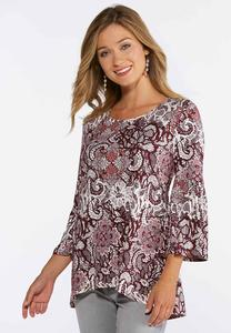 Plus Size Lacy Floral Bell Sleeve Top