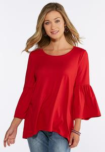 Plus Size Solid Bell Sleeve Top