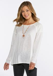 Solid Lace Trim Top