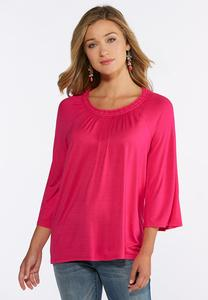 Solid Pleated Neck Top