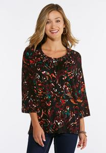 Wine Scroll Pullover Top