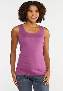 Plus Size Heather Knit Solid Tank