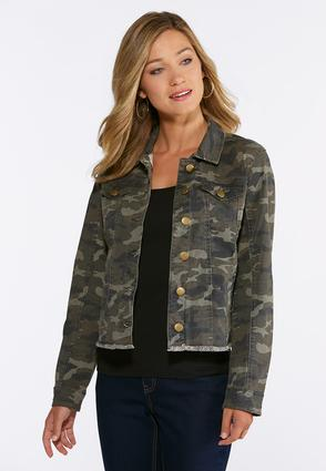 Plus Size Frayed Camo Jacket | Tuggl