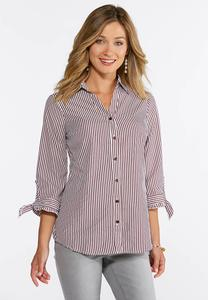 Plus Size Striped Tie Sleeve Shirt