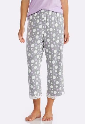 Lace Trim Dotted Sleep Pants