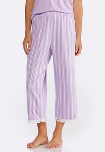 Lace Hem Striped Sleep Pants