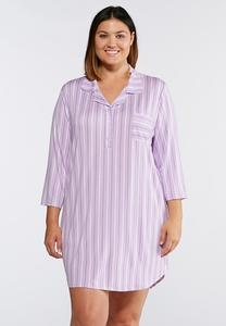 Plus Size Striped Sleep Shirt
