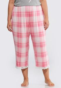 Plus Size Lace Trim Plaid Sleep Pants