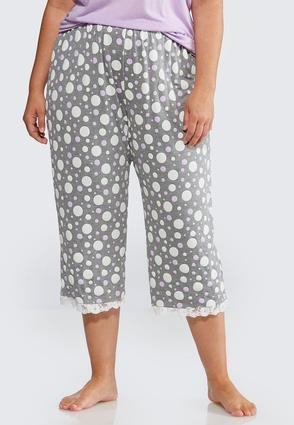 Plus Size Lace Trim Dotted Sleep Pants