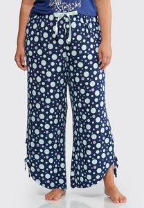 Plus Size Polka Dot Tie Side Sleep Pants