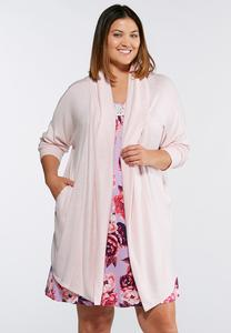 Plus Size Soft Pink Hacci Robe