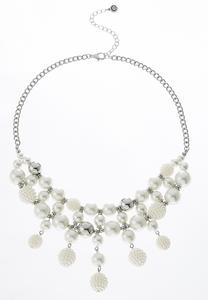 Pearl Dangle Bib Necklace