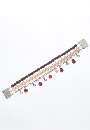 Magnetic Wine Pearl Layered Bracelet