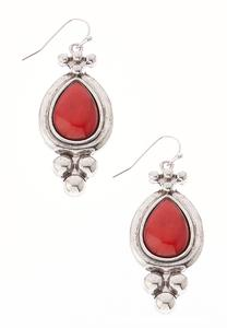 Red Stone Antiqued Earrings