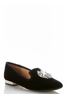 Wide Width Jeweled Velvet Smoking Flats