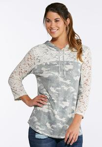 Plus Size Lace Camo Hoodie