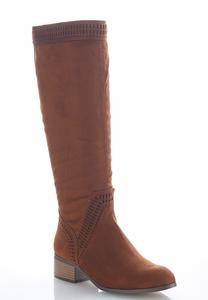 Cutout Detail Faux Suede Riding Boots
