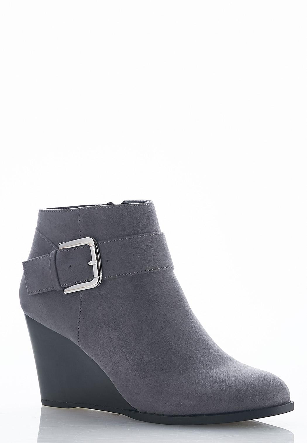 b0bfa9ab75d Wide Width Buckle Wedge Booties Ankle   Shooties Cato Fashions