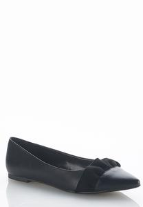 Ruffle Faux Leather Flats
