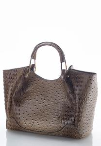 Faux Ostrich Oversized Hobo Bag
