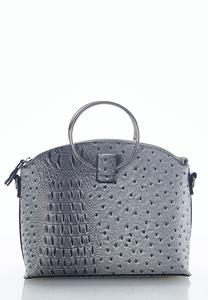 Ring Handle Ostrich Satchel