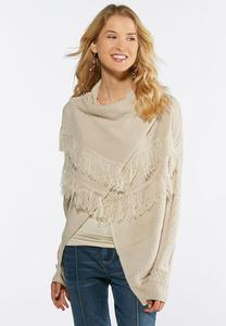 Plus Size Cable Fringe Cardigan Sweater