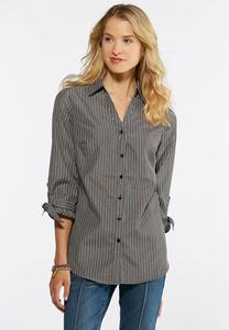 Ruffle Cuff Button Down Shirt