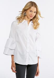 Tiered Sleeve Button Down Shirt