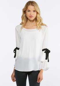 Plus Size Tiered Tie Sleeve Top