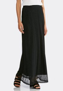 Plus Size Embellished Mesh Maxi Skirt