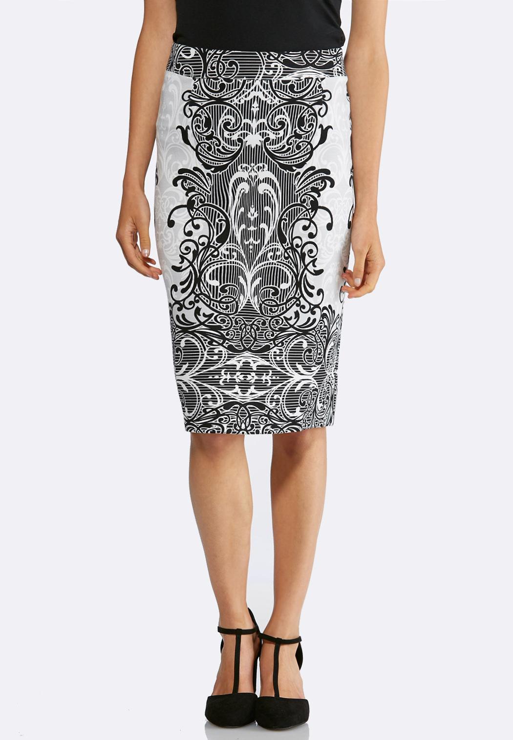 Scroll Ponte Pencil Skirt