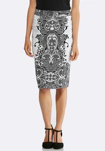Plus Size Scroll Ponte Pencil Skirt