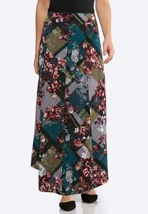 Plus Size Floral Seamed Maxi Skirt