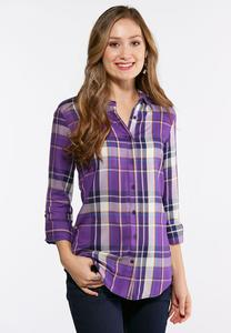 Plus Size Purple Plaid Tunic