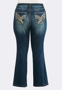 Plus Size Two-Tone Stitch Jeans