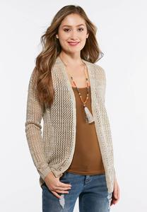 Oatmeal Lace Up Back Cardigan