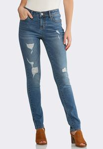 Distressed Skinny Stretch Jeans