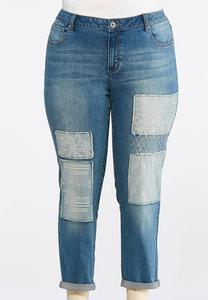 Plus Size Patchwork Double Roll Skinny Jeans
