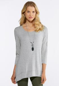 Beaded Sleeve Knit Top