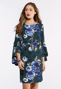 Plus Size Split Bell Sleeve Floral Dot Dress