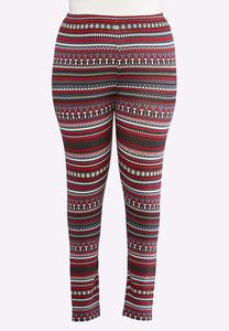 Plus Size Penguin Fair Isle Leggings